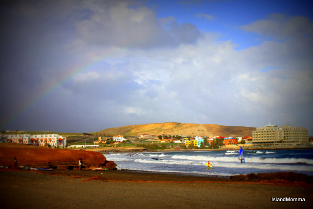 Autumn in Tenerife - rather like an English summer. A mixture of warmth and cloud. It's a rainbow time of year. I was a little late to capture this one, but I think you can make it out!