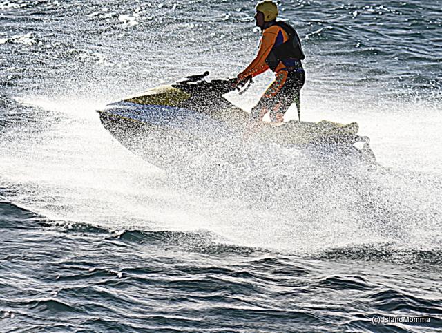 Austin training on the rescue jetski