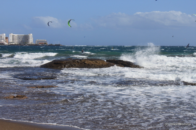 These are the rocks most people point to when you ask which is Maria's rock. Buffeted by the waves the windsurfers love to ride.