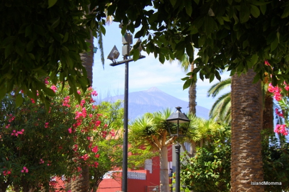 El Teide, island guardian, seen from the pretty church square in Puerto de la Cruz