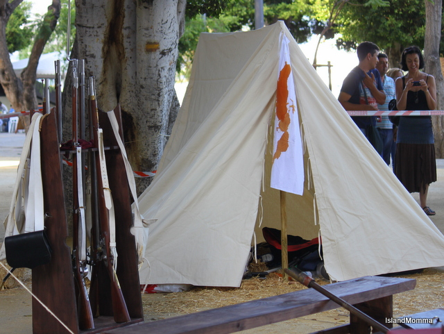 Battlefield tent complete with bloody doctor's apron