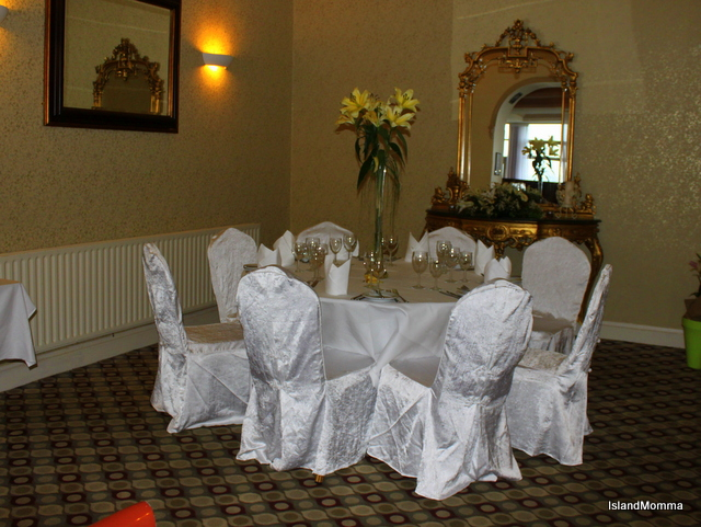 A corner of the Montenotte dining room with a taste of how a table setting for a wedding might look.