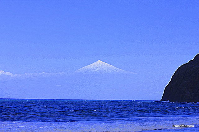 snowy teide from playa santa catalina la gomera