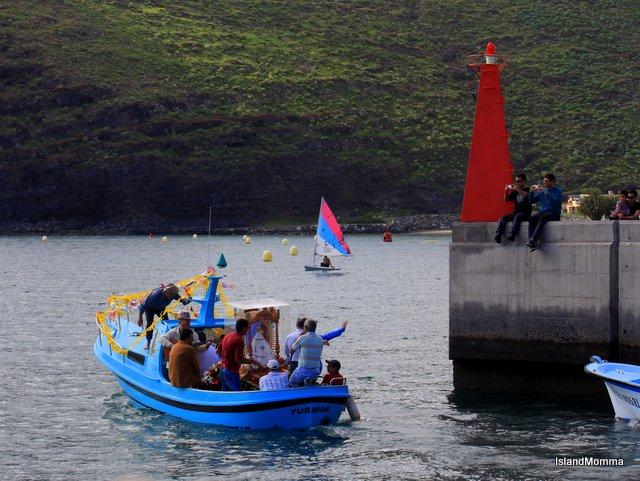 Boat carries statue virgin de guadalupe San Sebastian de la Gomera
