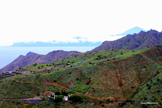 End of the valley, approaching the ocean, with the island of Tenerife in the distance