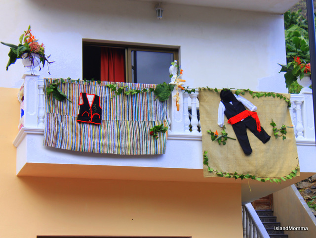 House decorated for Bajada de la Virgen Hermigua La Gomera