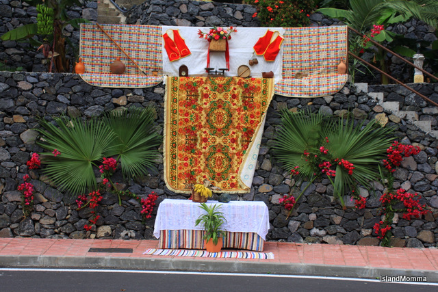 Street decor for Bajada de la Virgen de Guadalupe Hermigua La Gomera