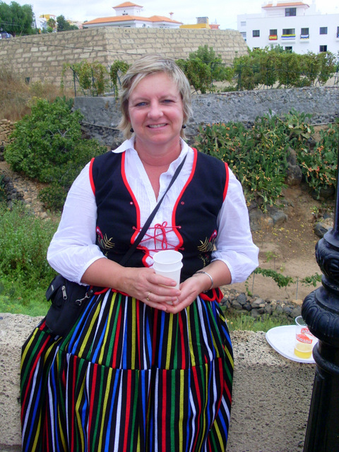 Val in Canarian traditional dress for the local fiesta