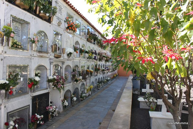 Lovely cemetery in Santiago del Teide in Tenerife is always full of flowers