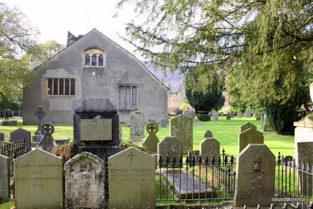 Grasmere Parish Church in the English Lake District where the Wordsworth family is buried