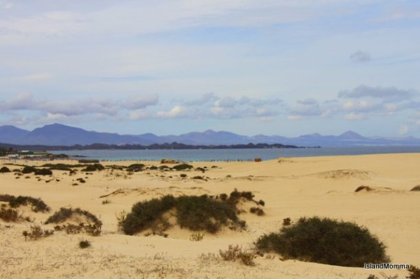 Lanzarote seen from sand dunes in Corralejo