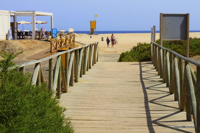 Walkway takes you over the small wetlands area to the beach at Morro Jable