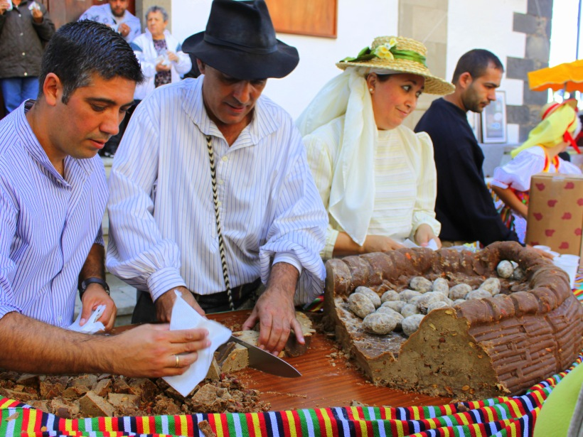 Gofio is served at the Dia de Canarias celebrations in San Miguel de Abona in Tenerife last year