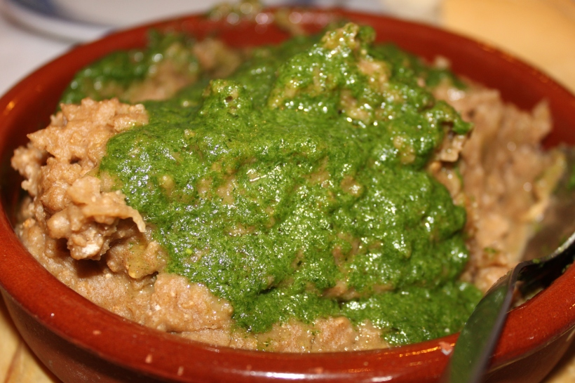 Traditional escaldon served with mojo verde