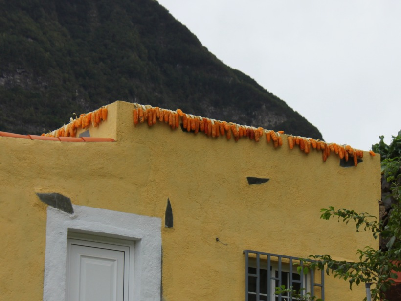 Maize drying strung from a rooftop terrace in La Gomera