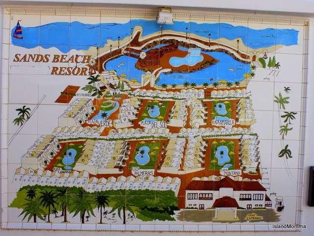 Map shows the layout of the resort, each section designed around its own pool area