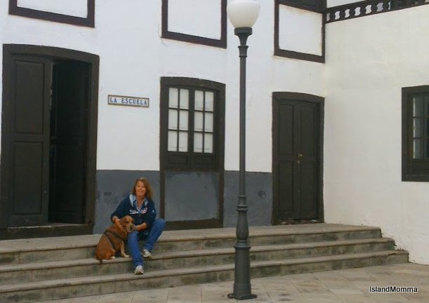 Sitting outside the apartment just before we left La Gomera for the first time.