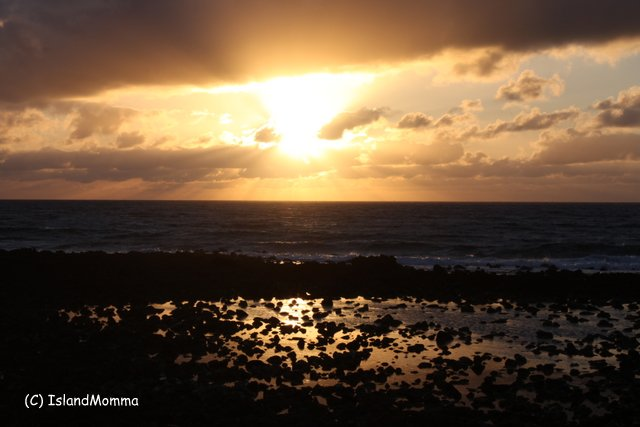 Sunrise over the ocean and shores of Costa Teguise in Lanzarote